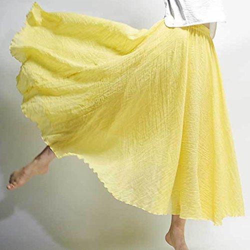 Jaune Haute 85cm Longues Taille Couche 20 Maxi Jupe Couleurs Doux Femme Lin Double Jupes 95cm Hibote Confortable Jupes Coton aqHwU5IU