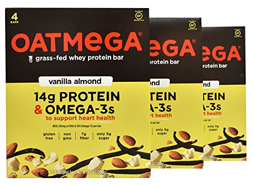 Oatmega - Grass-Fed Whey Protein Bars, 4 Count (Pack of 3) (Vanilla Almond)