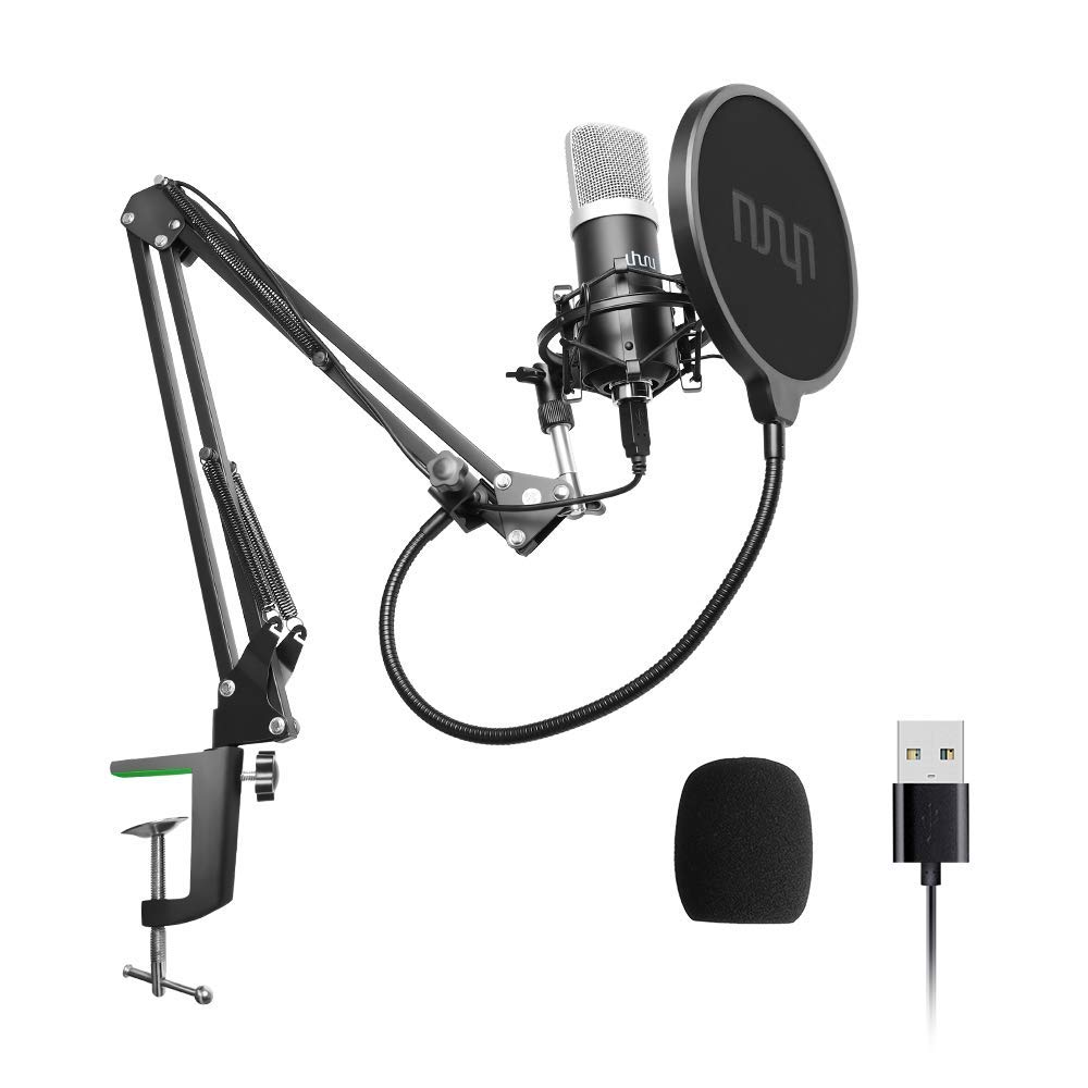 USB Podcast Condenser Microphone 192kHZ/24bit, UHURU Professional PC Streaming Cardioid Microphone Kit with Boom Arm, Shock Mount, Pop Filter and Windscreen, for Broadcasting, Recording, YouTube by UHURU