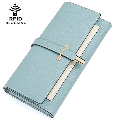 Clearance RFID Blocking Leather Wallet for Women Slim Clutch Purse Long Designer Trifold Checkbook Ladies Credit Card Holder Organizer Light Blue