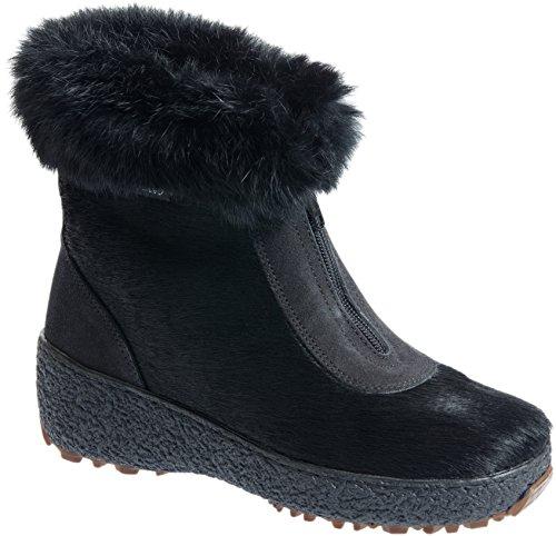 Women's Rose Wool-Lined Rabbit Fur and Calfskin Boots (Calfskin Zip Boot)