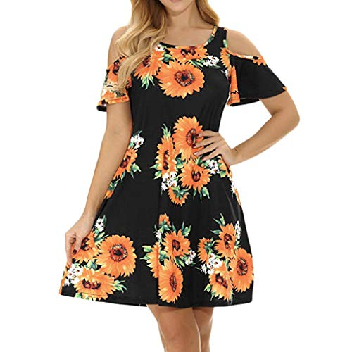 Sunhusing Women's Off Shoulder Short Sleeve Sunflower Print Dress Ladies Summer Casual Mini Dress (XL, ()