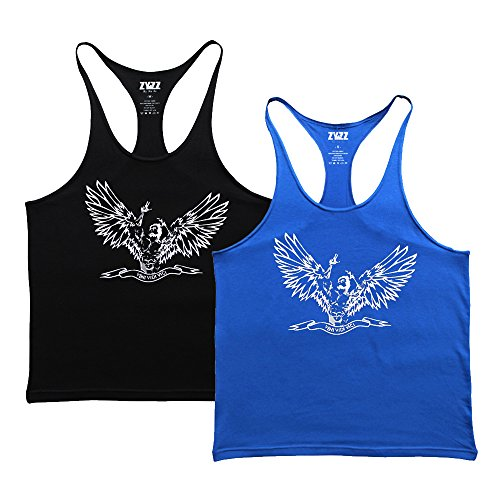 MUSCLE ALIVE Zyzz Gym Tank Tops Men Cotton Angel Black and Blue Color 2 Pcs Size XL