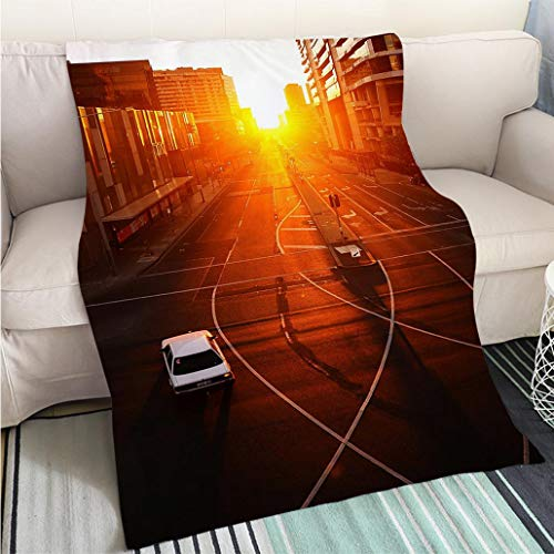 Super Soft Flannel Thicken Blanket Car on The Bourke Street Melbourne at Sunset Perfect for Couch Sofa or Bed Cool - Quilt Bourke