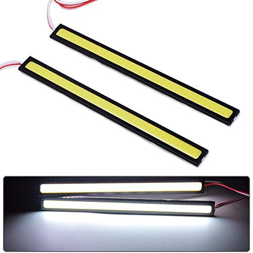 YITAMOTOR 2X Red High Power 5630 18-SMD Slim COB LED DRL Daylight Driving Daytime Running Light Lamp for All Vehicles with 12V Power (White+White)