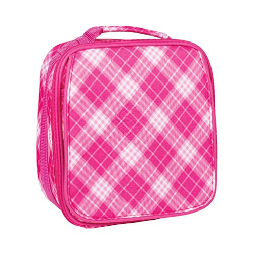 Pink Plaid Preppy Water Resistant Zipper Closure Insulated Soft Cooler Lunch Bag