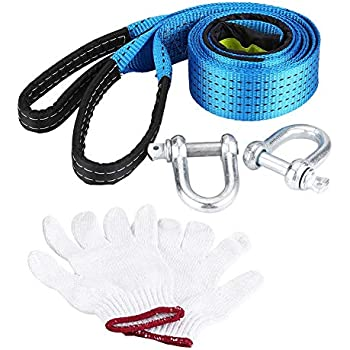 Car Trailer Rope Tow Rope Road Recovery Tow Strap with Hooks 8 Tons 3//5 Meters 5meter