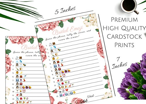 Bridal Shower Games (25 Pack) Emoji Pictionary Games- for Engagement, Wedding and Bachelorette Party. Elegant GOLD and FLORAL Designs for Adult, Co-ed, Men, Women, Couples (PINK FLORAL) by CENTALI (Image #3)