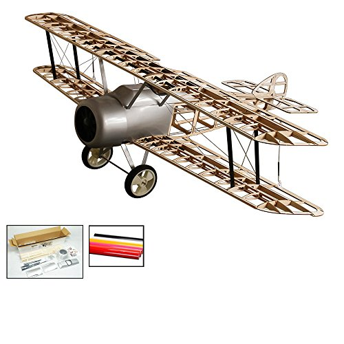 S11 DW Hobby Radio Remote Controlled Electric &Gas Glow Powered Aircraft Biplane Sopwith Camel Wingspan 1520mm with Plastic Cowling Laser Cut Need to Build Model for Adults (S1101B)