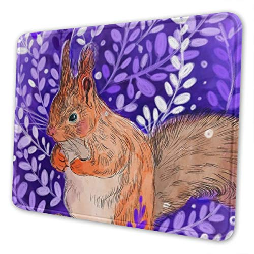 (Gaming Mouse Pad Chipmunk Purple Primrose Mouse Mats Anti-Slip Rubber Base Mousepad Mat for Computers Laptop Office Accessories Desk Decor 8.3 X 10.3 in)