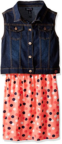 Dress Set Pink Denim - Limited Too Big Girls' Woven Vest and Knit Dress Set, KX47 Neon Light Coral, 10