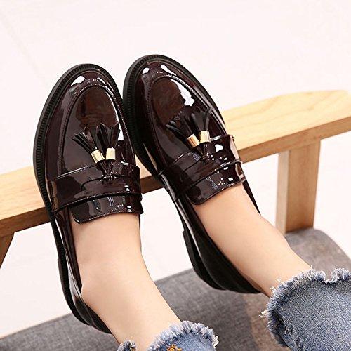 Giy Zapatos Oxford Para Mujer Retro Borla Holgazán Zapatos Casuales Punta Ala Slip-on Zapatos Planos Rojo Vino