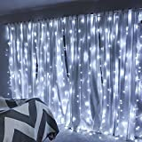 LE LED Window Curtain String Light,594 LEDs Icicle Light String, 19.8ft x 9.8ft, 8 Modes with Memory Function, Clear White Starry Fairy Light for Indoor Wall Decoration Wedding Party Home Garden