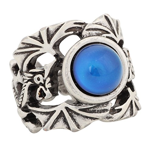 MOJO JEWELRY Mojo Bohemia Unique Dragon Pattern Sterling Silver Plated Stone Ring Color Change Mood Rings MJ-RS040 (9) (Sterling Mens Rings Silver Dragon)