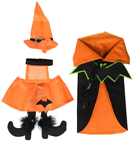 E-Living Store FBA43912 Bottle Covers for Halloween Décor, Wine Lover, or Party, Orange Bat