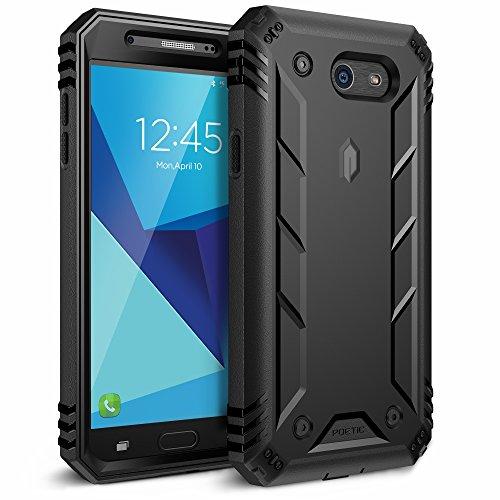 Poetic Revolution Galaxy J7 2017 Case with Hybrid Heavy Duty Protection and Built-in Screen Protector for Samsung Galaxy J7 Sky Pro/Galaxy J7 Perx/Galaxy J7 V/Galaxy J7 2017 Black