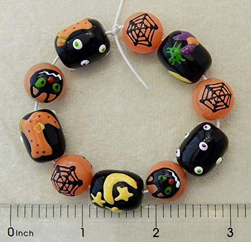 Halloween Beads Hand Painted Glass Spider Web Cat Witch Boot Black Orange Beads -