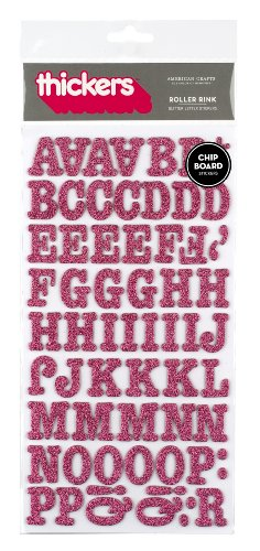 (American Crafts Thickers Glitter Chipboard Letter Stickers, Roller Rink Taffy)