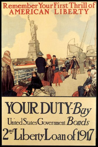 AMERICAN STATUE LIBERTY 1917 GOVERNMENT BONDS WAR SMALL VINTAGE POSTER REPRO ON CANVAS !!!!!