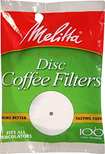 Melitta (628354C) Super Premium Percolator Disc Coffee Filters, White, 100 Count (Pack of 24)