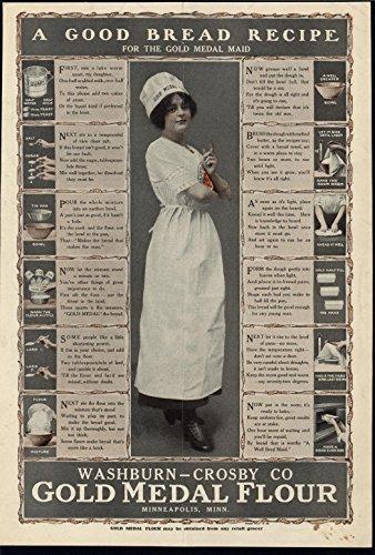 - Gold Medal Flour Beautiful Baker Baking Process 1913 antique advertising print