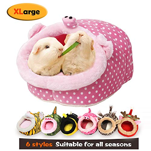 MYIDEA Warm Guinea Pigs Bed,Hedgehog Winter Nest,Rat Chinchillas & Small pet Animals Bed/Cube/House, Habitat, Lightweight, Durable, Portable, Cushion Big Mat (Small Pet – XL, Pink Pig)