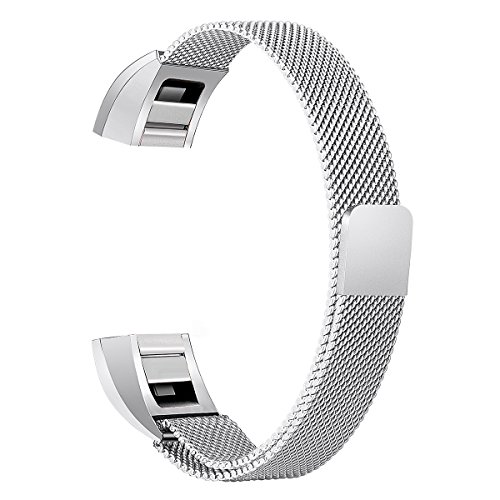 bayite Stainless Steel Bands Compatible Fitbit Alta and Alta HR, Milanese Loop Mesh Women Men(Silver Small)