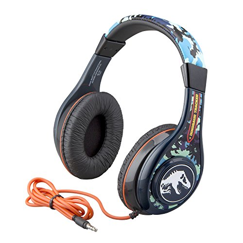 Jurassic World Kids Headphones for Kids Adjustable Stereo Tangle-Free 3.5mm Jack Wired Cord Over Ear Headset for Children Parental Volume Control Safe Perfect for School Home and Travel