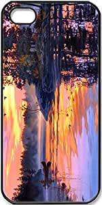 iPhone 4/4s Case,Art-Painting-Twilight-Scenery-Lake-Forest-Birds-Sunset Case for iPhone 4 4s with Black Side