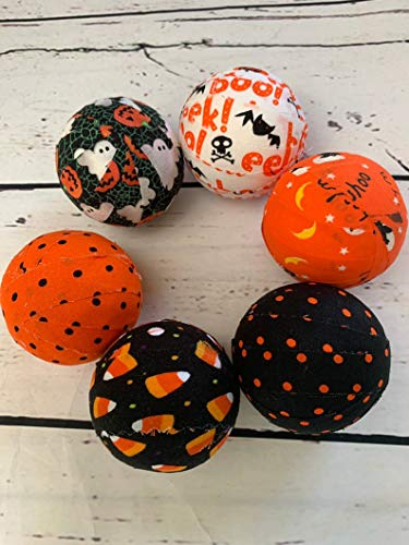 Orange and Black Halloween fabric wrapped balls - bowl filler set]()