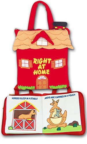 Pockets of Learning Personalized Right at Home Quiet Book, Animal Activity Busy Book for Toddlers and Children