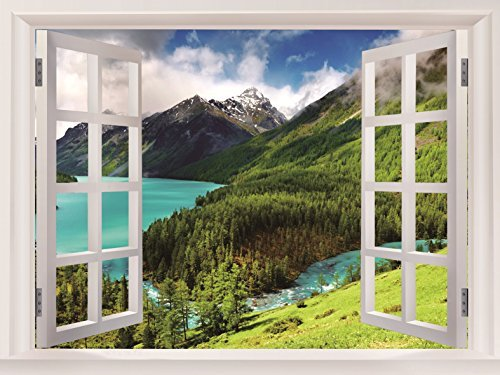 Blue River Mountains Landscape Art Huge Beautifully Gifts Stickers Fake Windows Decor Posters