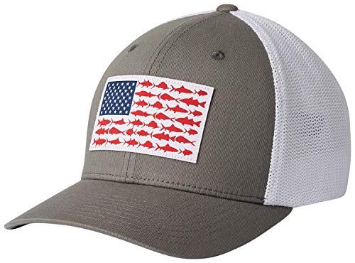 Columbia Unisex PFG Mesh Fish Flag Ball Cap, Titanium, White, Small/Medium