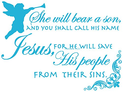 Omega She will bear a son, AND YOU SHALL CALL HIS NAME… Vinyl Decal Sticker Quote - Small - Ice Blue (Shall Call)