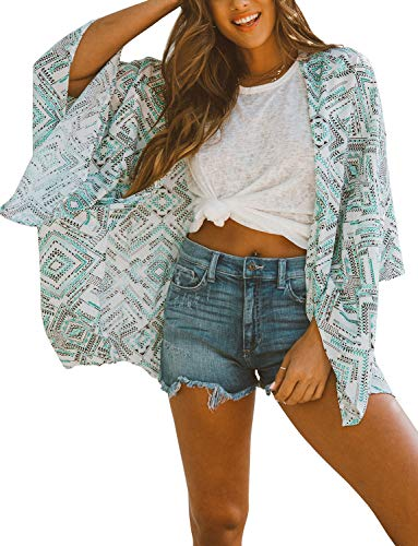 (Women's Kimono Flowy Cardigan Chiffon Beach Open Front Cover Up Tops Casual Loose Wraps (Geometric Pattern,S))