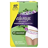 Always Discreet, Incontinence Underwear for Women, Maximum, Small / Medium, 32 Count