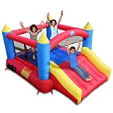 ACTION AIR Bounce House, Inflatable Bouncer with Air Blower, Jumping Castle with Slide