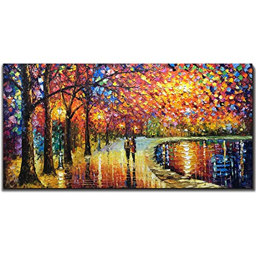 V-inspire Art 24x48 inch, Romantic Night 100% Hand Painted Contemporary Abstract Oil Paintings Modern Decorative Artwork on Canvas Wall Art Ready to Hang for Home Decoration Wall ()