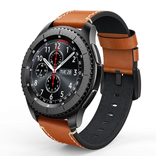 SWEES for Gear S3 Frontier/Classic Bands Leather, 22mm Genuine Leather Band with Buckle Strap Replacement Wristband for Samsung Gear S3 Frontier/Classic Smart Watch, Brown by SWEES