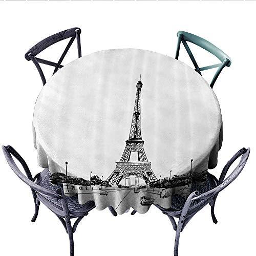 Apartment Decor Collection Circle Tablecloth Eiffel Tower View from Road European Popular Sign for Paris Monumental Landmark Image Flannel Tablecloth (Round, 70 Inch, Black White) -