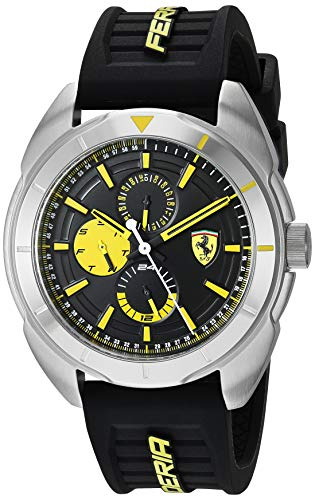 Ferrari Men's Forza Quartz Stainless Steel and Silicone Strap Casual Watch, Color: Black (Model: 830575)