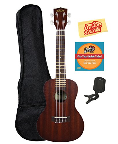 Kala KAA-15C Satin Mahogany Concert Ukulele Bundle with Gig Bag, Austin Bazaar Instructional DVD, Clip-On Tuner, and Polishing Cloth by Kala