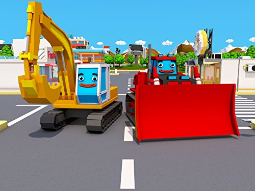 Cars Town: The Excavator and red Bulldozer