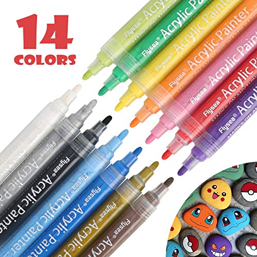 Acrylic Paint Pens, Fabric Paint Markers Kids Art Craft Supplies Rock Painting Kit for Glass Rock Ceramic Metallic Wood Leather Chalkboard Permanent Marker Painting Supplies Water Based 14 Colors Set