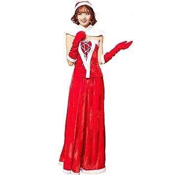 e00200d39f8 S&C Live クリスマスコスプレ衣装 レディース ロングスカサンタ衣装5点セット ペアトップサンタ