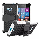 Lumia 535 Case [iCoverCase] Heavy Duty Armor Hybrid [Dual Layer] KIickstand Back Holster Shockproof Cover Protecive Case for Microsoft Nokia Lumia 535 (White)