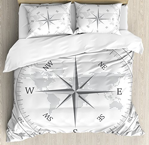 Compass Quilt - Ambesonne Compass Duvet Cover Set Queen Size, Compass Illustration World Map Maritime Seaman Life Equipment Monochromic Artwork, Decorative 3 Piece Bedding Set with 2 Pillow Shams, White Gray