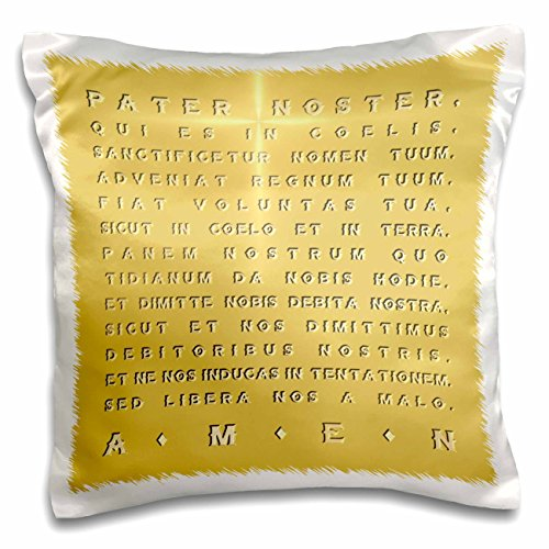 Gold Square Crucifix (Russ Billington Designs - The Lords Prayer- Gold Effect Latin Text with Crucifix Highlight - 16x16 inch Pillow Case (pc_220779_1))