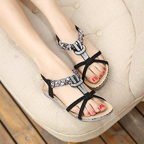 Beaded Strap Gladiator Women Flower Flat Dress Black Meeshine Beach Sandals T Shoes xWHtRwwf