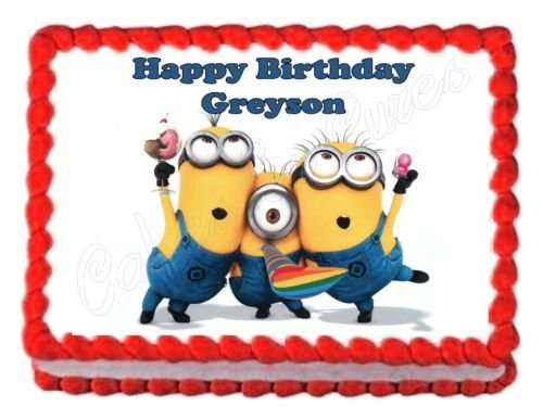 DESPICABLE ME MINIONS party edible cake image cake